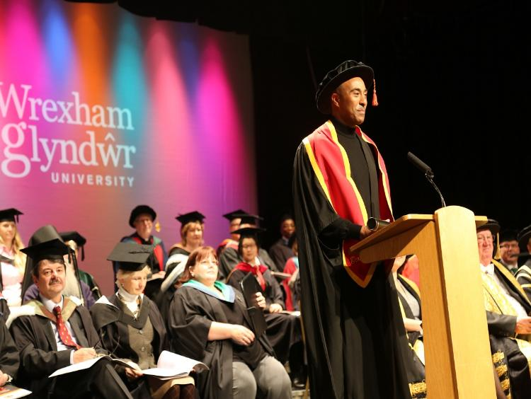 Chancellor Colin Jackson at a graduation ceremony