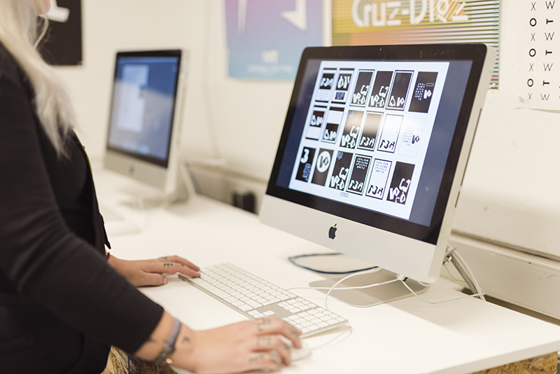 A graphic design student working