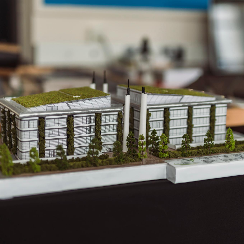 A 3D model of a building in a built environment class