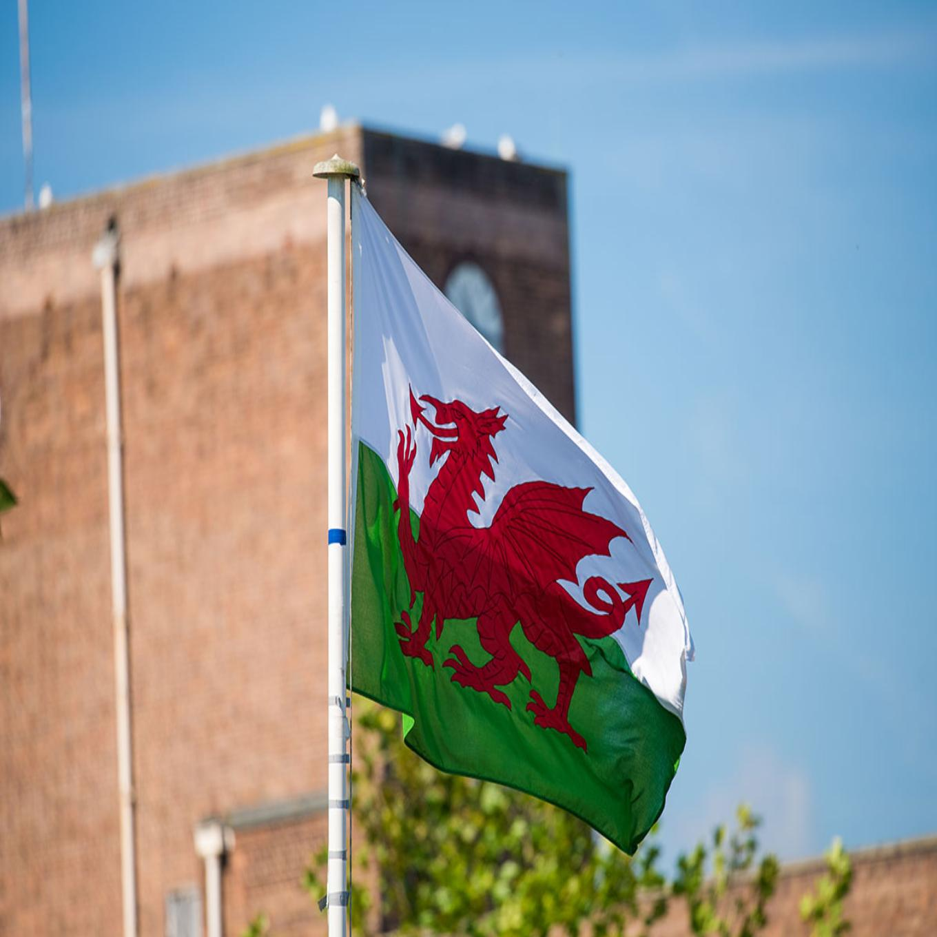 Welsh flag on campus