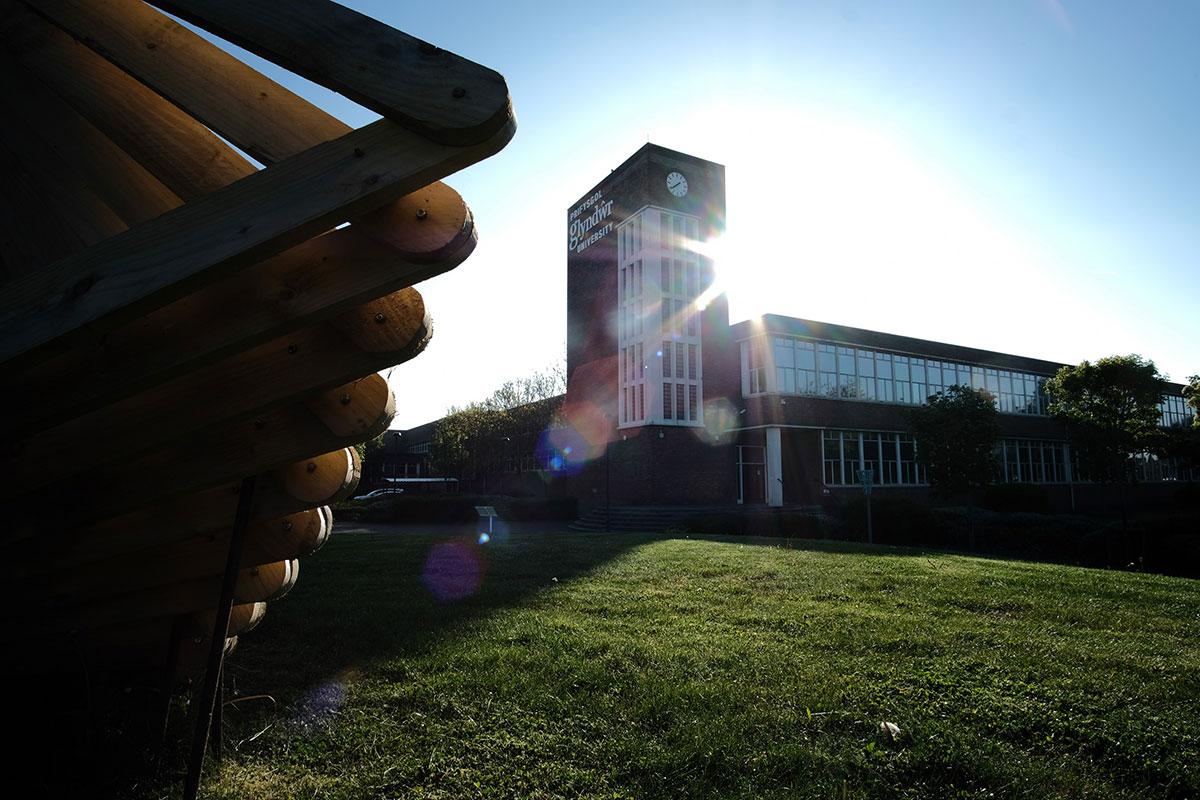 Wrexham Glyndwr University building in the sun