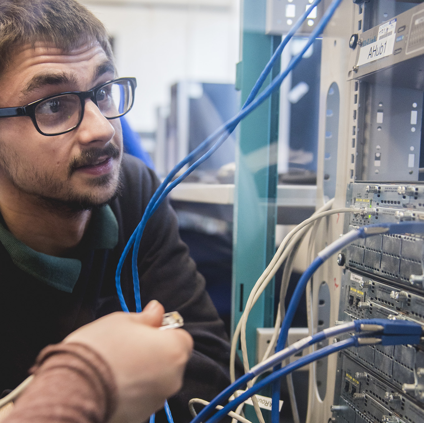 A computing student working on a networking project