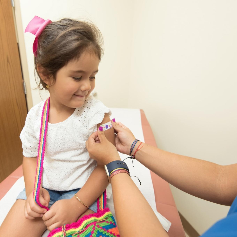 a child having a flu vaccine