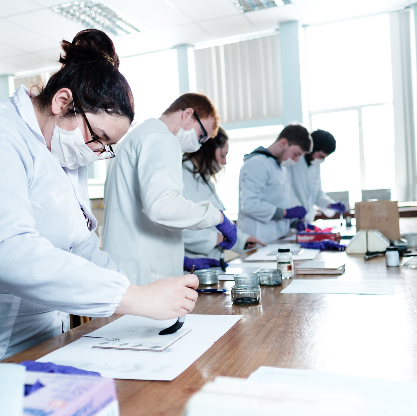 Forensic Science students dust for fingerprints