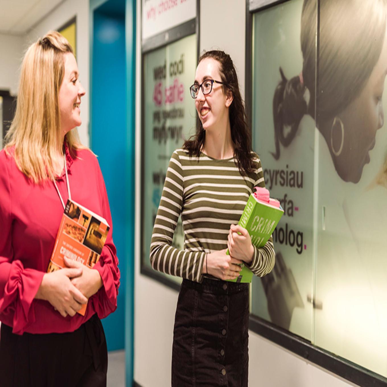 criminology students in corridor