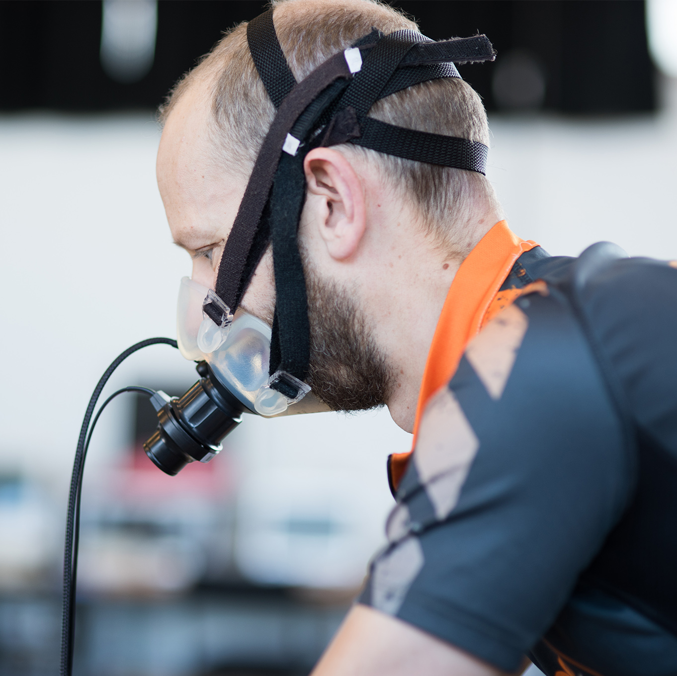Student wearing breathing apparatus in the Human Performance Lab