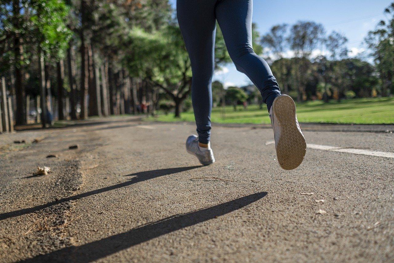 A women running in a park
