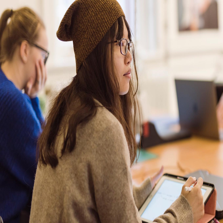 Art Student on tablet